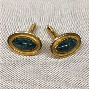Gold plated genuine stone cufflinks Unisex